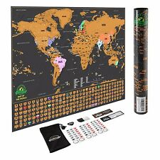 Scratch Off World Map Poster with US States and Country Flags - By Earthabitats