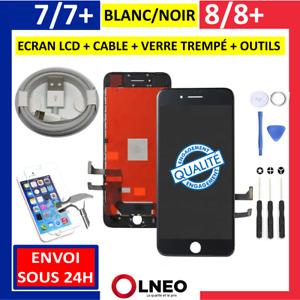ECRAN LCD VITRE TACTILE COMPLET NOIR BLANC IPHONE 7 / 7 PLUS / 8 / 8 PLUS + / SE