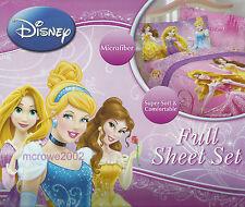 Disney PRINCESS 4p FULL BED SHEET SET Double Sparkling Elegance BELLE CINDERELLA