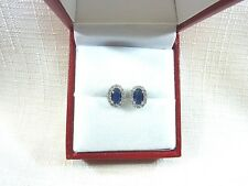 2.25 ct Sapphire Blue/White Cubic Zirconia Rhodium Plated Sterling Post Earrings
