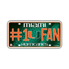 Metal Vanity License Plate Tag Cover (Embossed) University of Miami Hurricanes