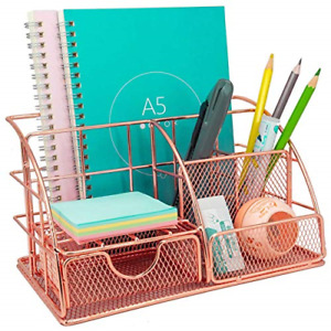 Rose Gold Desk Organizer with Drawer, Multi-Use Metal Desktop Organizer, Office