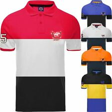 Mens Polo T Shirt Striped Contrast Design Top Branded Short Sleeve Cotton Shirt