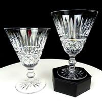 """WATERFORD CRYSTAL 2 PC TRAMORE CRISS CROSS CUT 5 3/8"""" WATER GOBLETS 1968-2017"""