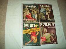 Lot of 4 crime/detective pulps Verdict (2) Conflict (#1), Pursuit 1953-55 rare