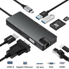8 in 1 USB C Hub Adapter zu HDMI VGA USB 3.0 Kartenleser RJ45 Ethernet Splitter