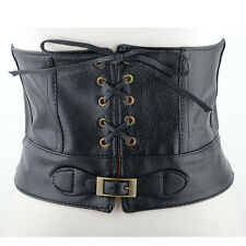 Womens Black Steampunk Gothic Rock Wide Leather Corset Waist Adjustable Belt New
