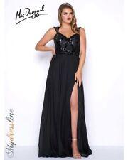 NEW MAC DUGGAL 77116F Black Beaded Lace Bodice Chiffon Skirt Gown Dress 14W 0X