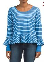 Free People ROUNDABOUT Long Bell Sleeve TEE In Ocean Combo Size Small NEW $78