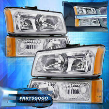 For 03-06 Chevy Silverado Chrome Amber Corner Head Lights + Signal Bumper Lamps
