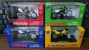 Qty-4 New Ray Honda Yamaha Kawasaki Suzuki Dirt Bike Toy CR250 KX250 YZ RM 06227