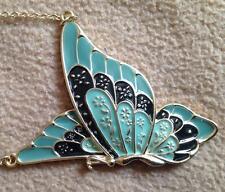 New Large Gold-tone Green & Black Butterfly Necklace / Pendant Art Nouveau style