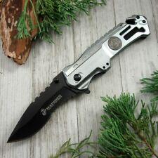 Spring-Assist Folding Pocket Knife Mtech Mar 00004000 ine Semper Fi Silver Tactical Rescue