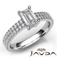 Emerald Diamond U Cut Prong Set Engagement Ring GIA F VS1 18k White Gold 1.22Ct