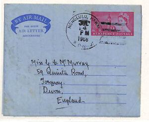 GB USED ABROAD *Hawaii* Usage GB AIRLETTER Honolulu Duplex Cover Devon 1968 PP36
