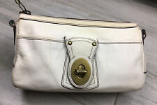 Coach Legacy White Clutch TurnLock Chunky Brass Stripes Vintage Summer Bag Purse