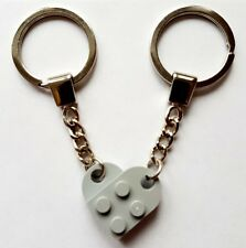 LEGO Light Bluish Grey Love Heart Keychain Keyring Present Birthday Gift NEW
