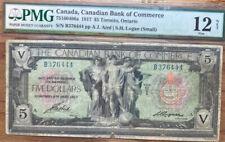 Pmg 1917 Canadian Bank Of Commerce $5 Toronto, Ontario Fine 12 Net