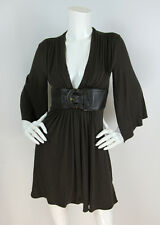 Sky Brand Sz S Dark Brown Rayon/Spandex Jersey Leather Belt Kimono Sleeve Dress