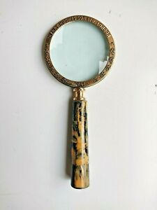 Vintage style brass handheld magnifying glass desktop accessory collectible item