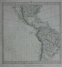 AMERICA, 'WORLD ON GNOMIC PROJECTION II', original antique map, SDUK, 1844
