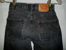 Levis 550 Jeans Boys Size 12 Slim Black Denim Straight Leg Relaxed Fit 24 x 26