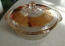 Vintage Fire King Casserole Dish, George's Briard Gold Fleck,2 Quart