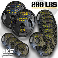 200 POUND OLYMPIC PLATE Set Home Gym Fitness Exercise Cast Iron Weight Plates