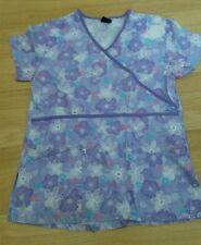 Women S small lavender purple flower patterned scrub top cotton blend, Cherokee