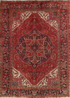 Antique Geometric Heriz Serapi Red Area Rug Hand-Knotted Oriental Wool 8x11
