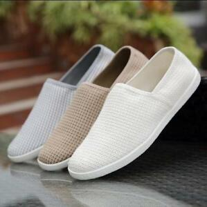 Fashion Mens Loafers Breathable Canvas Flat Pull On Driving Moccasins Shoes New