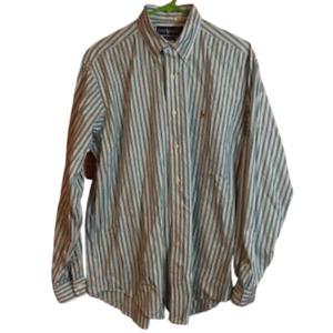RALPH LAUREN Men's Dress Shirt Size 15 1/2 - 35 green white striped cotton