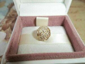 Genuine Authentic Pandora 14ct Gold Sparkling Love Knot Charm - 750991CZ