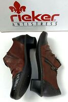 Reiker Antistress Louise Ankle Boot Oxford Heel Brown Black Leather EUR 37 US 6