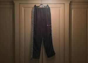 Retro and Vintage Champion Grey and White Joggers / Track Pants -- Size Medium