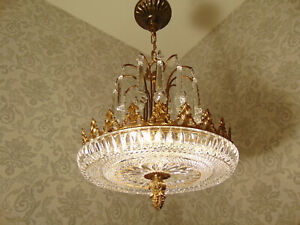 antik 3Fl  Kronleuchter  Lüster Deckenlampe Bronze Messing Gold Kristall ca.1920
