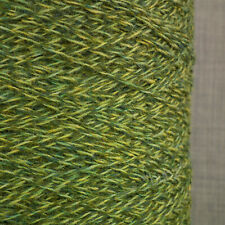 SHETLAND WEAVING WOOL 4 PLY 2/9NM GREEN TWEED 500g CONE TEN BALLS KNIT FELT MARL