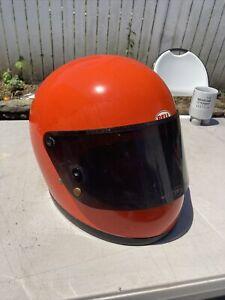 Vintage 1975 Bell Star II  2 Motorcycle Helmet Orange Size 7-3/4 62cm XL