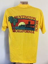 Vtg 1977 Huntington Beach California T-Shirt Yellow M/L 70s Souvenir 50/50