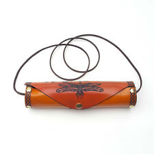 Celtic Dragonfly Burn Orange Pencil Case With Leather Cord Stap