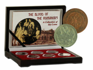 THE BLOOD OF THE ROMANOVS 6pc SET OF RUSSIAN COPPER & SILVER KOPEKS W- BOX & COA