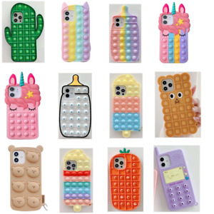 Kids Bubble Sensory Funny Silicone Squeeze Sensory Case Cover for iPhone 11 XR 7