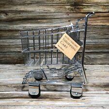 Mini Chrome Shopping Cart World Market Basket Metal Decore Trolley