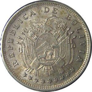 elf Bolivia 20 Centavos 1909 H  Silver  Llama