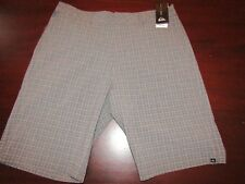 mens quiksilver neolithic amphibian shorts 32 nwt $58 gray plaid