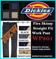 DICKIES Mens Flex Skinny WORK PANTS WP801 Slim Straight Fit Board Pants 5 Colors