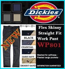 DICKIES Mens Flex Skinny WORK PANTS WP801 Slim Straight Fit Low-rise Board Pants