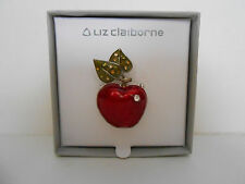 Liz Claiborne Red Apple Pin Brooch With Rhinestones New In Box