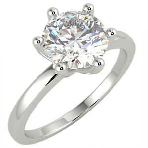 1.04 Ct Round Cut VVS2/F Solitaire Diamond Engagement Ring 14K White Gold