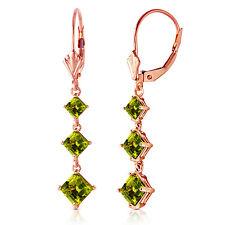 4.79 CTW 14K Solid Rose Gold Chandelier Earrings Peridot